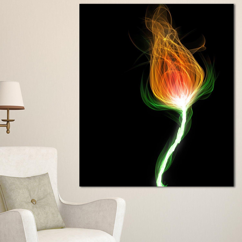 Designart PT14181271V Fiery Fractal Flower with Stem Floral Work Print Canvas Art
