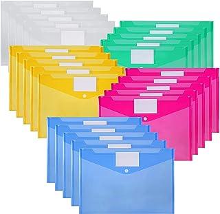 Nordun Pochettes Porte-document A4,Plastique Pochette avec Bouton Pression et étiqueter- Lot de 25 - Couleurs Assorties