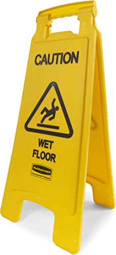 """Rubbermaid Commercial Products 26 Inch """"Caution Wet Floor"""" Sign, 2-Sided, Yellow (FG611277YEL), 1.5 x 11 x 26.5"""