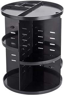 コスメ収納 コスメスタンド 黒 ブラック 回転式 デスクトップ 360度回転の化粧品収納 ポリスチレン製 机の整理整頓 すっきり収納