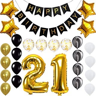 Happy 21st Birthday Banner Balloons Set for 21 Years Old Birthday Party Decoration Supplies Gold Black