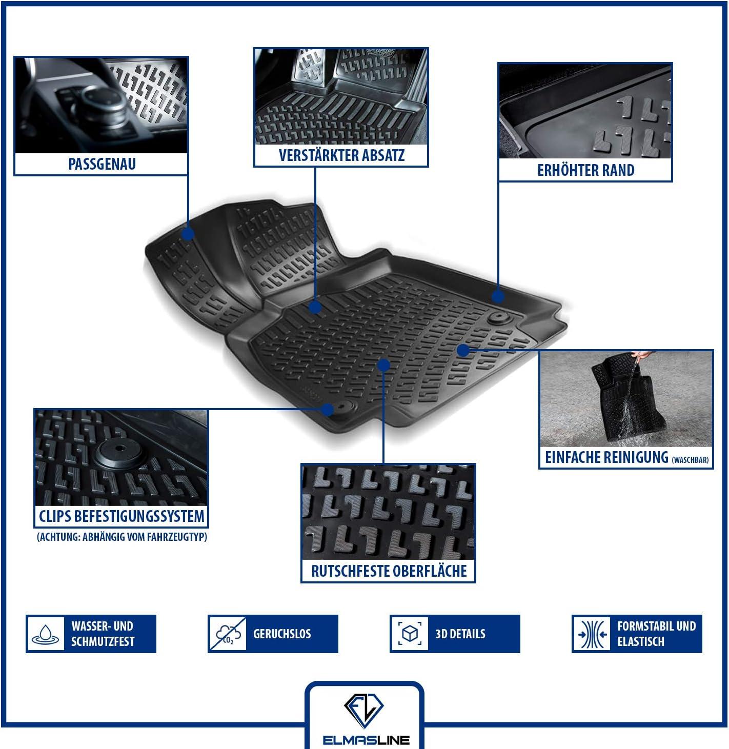 I 2008-2012 Elmasline Design 3D Gummimatten Set f/ür Dacia SANDERO Extra hoher 5cm Rand