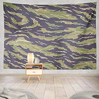 KJONG Tiger Wall Tapestry,Military USA Tiger Stripe Uniform South Vietnam with Swatches Wall Tapestry, 80X60 Inches Wall Hanging Tapestry Wall Art for Bedroom Living Room, Dark Green
