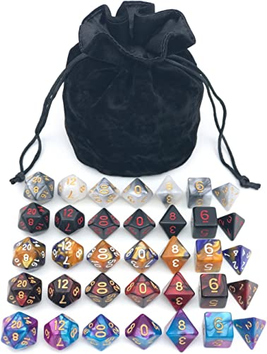 Assorted Polyhedral Dice Set with Black Drawstring Bag, 5 Complete Dice Sets of D4 D6 D8 D10 D% D12 D20 Great for Dun...