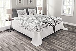 Ambesonne Tree Bedspread, Old Withered Oak Crown Without Leaves Tree Branches Rustic Theme Illustration, Decorative Quilted 3 Piece Coverlet Set with 2 Pillow Shams, Queen Size, Charcoal Grey