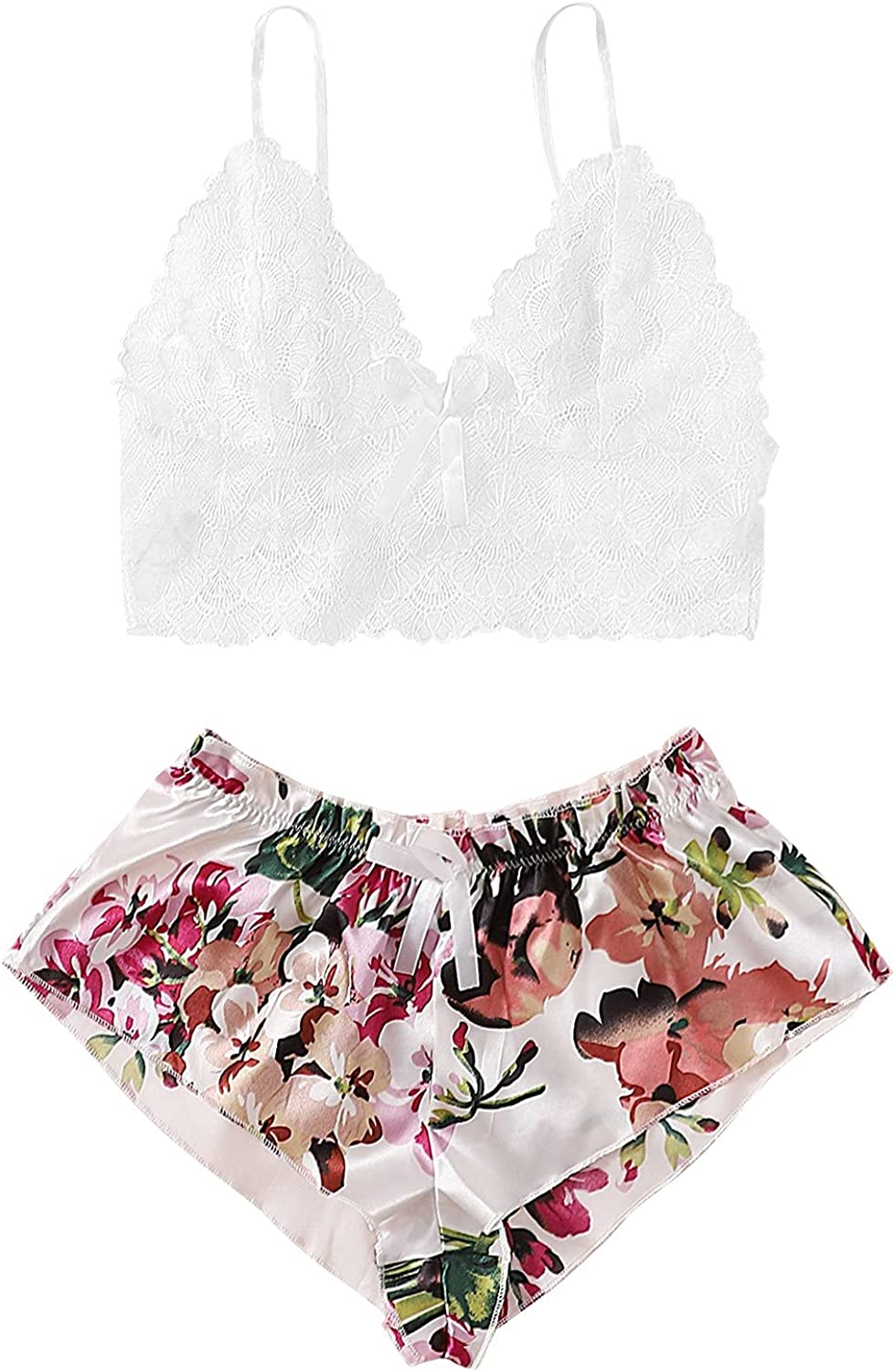 Forwelly Women's Shorts Pajamas Set Sexy Lace Tank Top Bra with Floral Short Pant Lingerie Nightwear Sleepwear