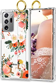 Samsung Galaxy Note 20 Ultra 5G Clear Case Pink Orange Flowers Cute Floral Design Hard Back TPU Bumper Protective Shockproof Phone Case with Wrist Strap 6.9 Inch for Women Girls