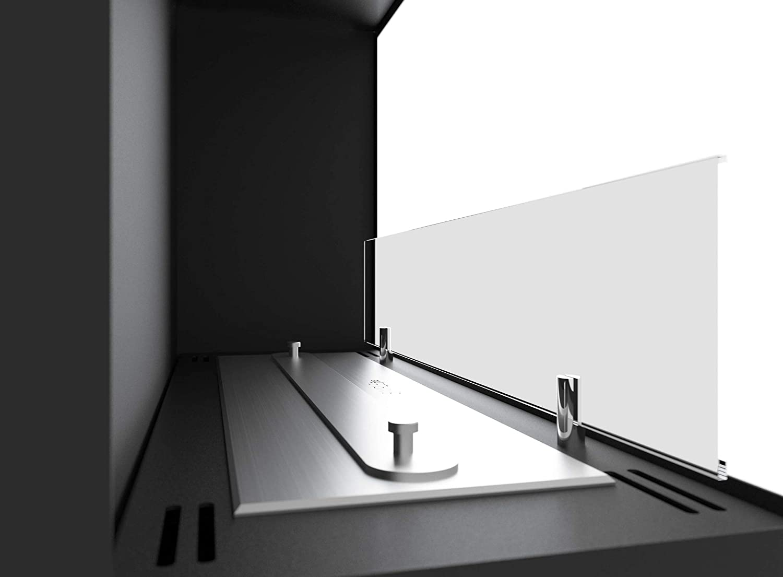 Dumas Camino a Bioetanolo da Incasso 60x45 cm con Vetro Corner 600 Left Nero