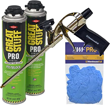 Dow Great Stuff Pro Pestblock Foam Sealant Kit with Foam Gun and Gloves