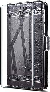 HYMY Leather fodral för Wiko View 3 Lite + skärmskydd - Black Retro Embossing TPU Silikon + PU Protection fodral Fashion S...
