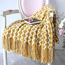 Knitted Sofa Throw Blanket with Tassels Travel Acrylic Shawl Scarf Airplane Portable Blanket 120x230cm
