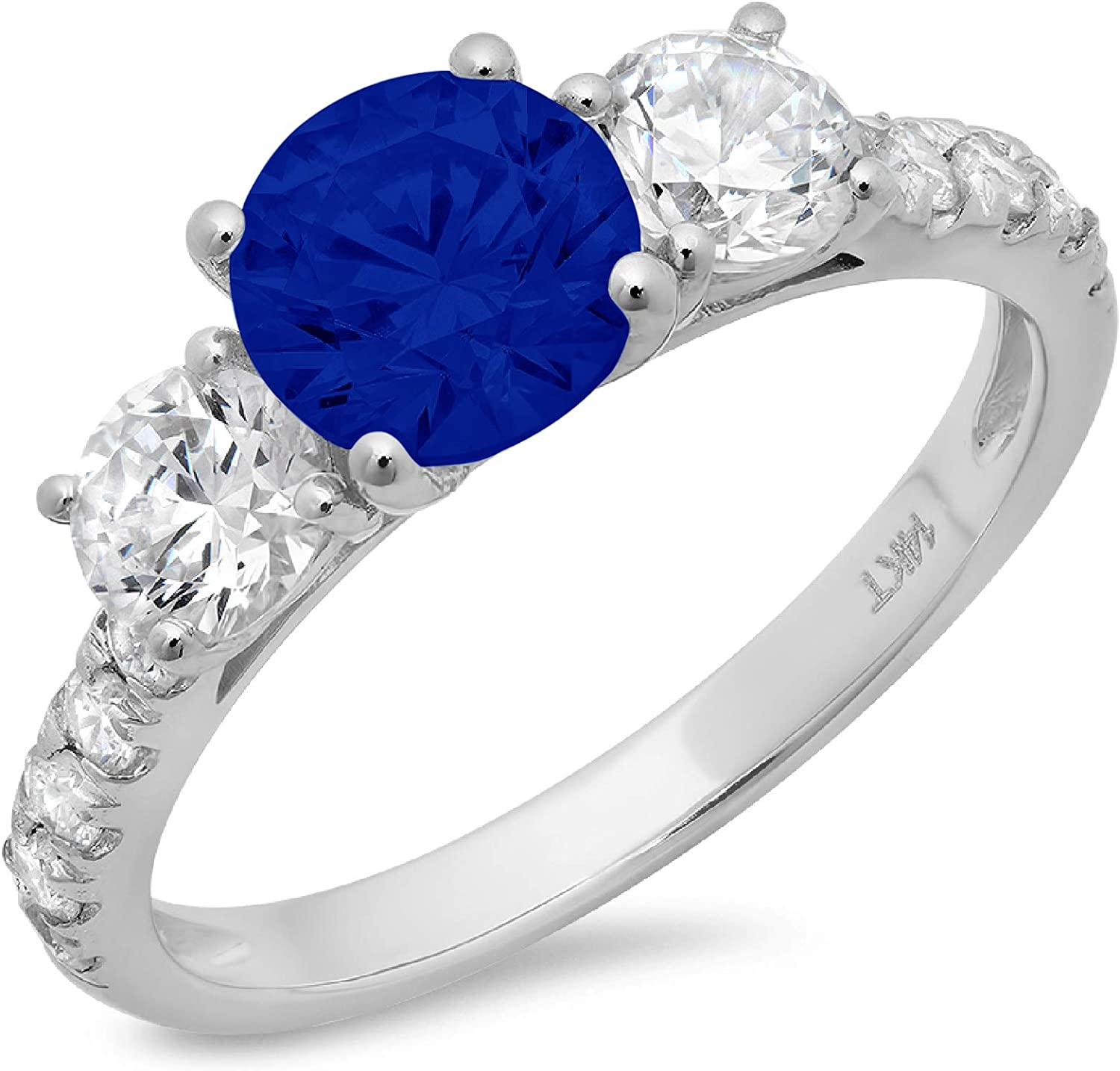 2 ct Brilliant Round Cut Solitaire 3 stone With Accent Flawless Genuine Simulated Blue Sapphire Ideal Engagement Promise Statement Anniversary Bridal Wedding Designer Ring 14k White Gold