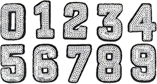 Libiline Sequins Number 0-9 Embroidered Patch Sew On/Iron On Patch Applique Clothes Dress Plant Hat Jeans Sewing Flowers Applique DIY Accessory (Sequin Number 0-9)