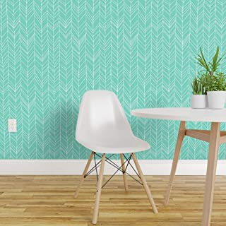 Spoonflower Pre-Pasted Removable Wallpaper, Chevron Feathers Aqua Blue Arrow Herringbone Mint Geometric Print, Water-Activated Wallpaper, 12in x 24in Test Swatch