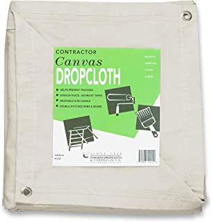 CCS CHICAGO CANVAS & SUPPLY 10 oz Cotton Canvas Drop Cloth (12 feet x 12 feet, Natural with Grommets)
