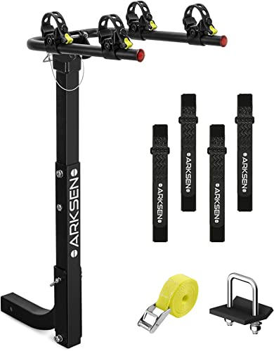 """2021 Arksen 2 Bike Rack Hitch Mount Swing Down Bicycle Carrier Foldable Rack With Anti-Rattle outlet sale Hitch-Tightener Fit Cars, Trucks, sale SUV's and minivans with a 2"""" Hitch Receiver outlet online sale"""