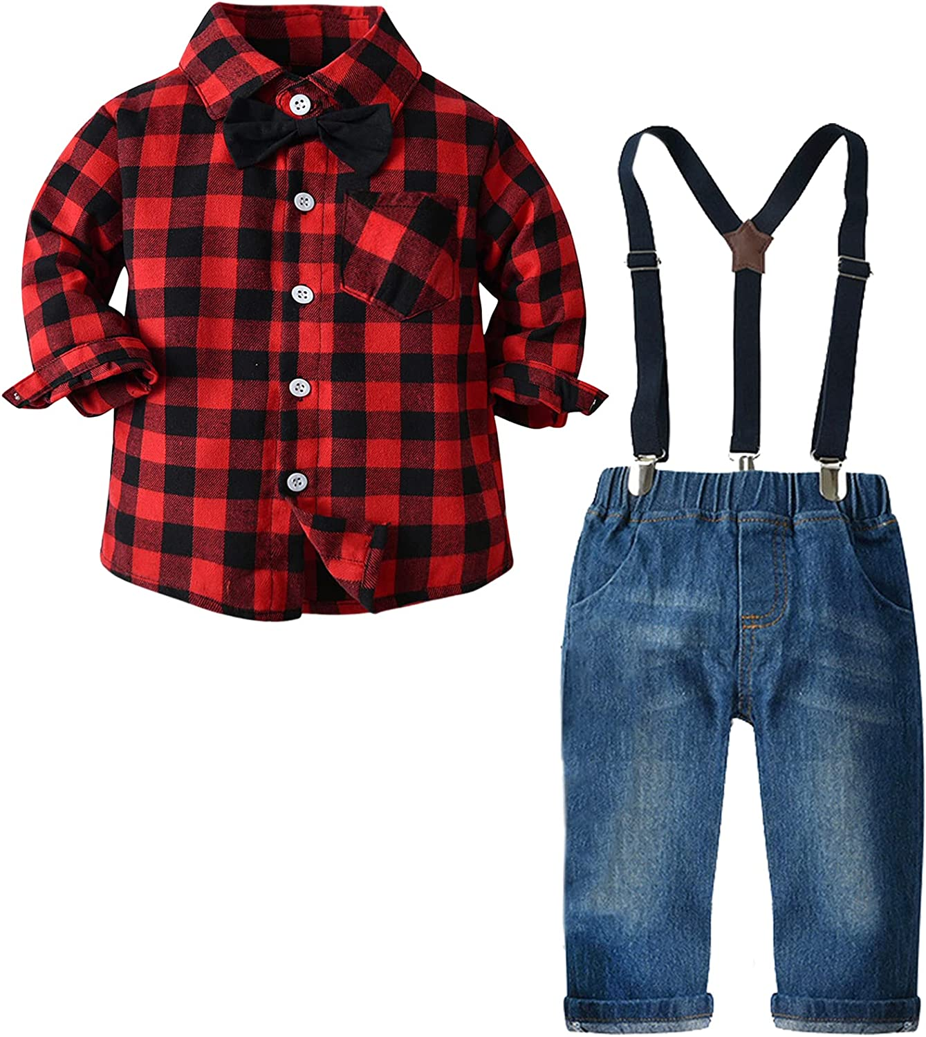 Baby Boy's Clothes, Long Sleeves Flannel Plaids Button Down Shirt with Bow Tie + Suspender Denim Jeans Pants Set Outfit, S02 Red Black Tag 130 = 4 - 5 Years