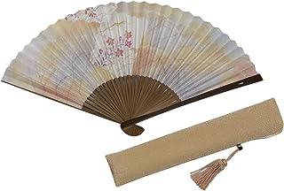 [ハセガワ] 京扇子「桔梗」両面柄 京都職人 手作り 扇子 房付き ベージュ 扇子袋付き 紙箱入り