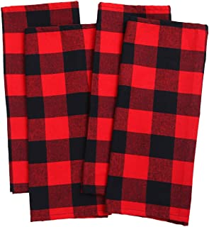 Aneco 4 Pack Check Plaid Dish Towels Oversized 18 x 28 inches Cotton Kitchen Dish Towels Fast Drying Cotton Tea Towels for for Drying Cleaning Cooking Baking - Red and Black