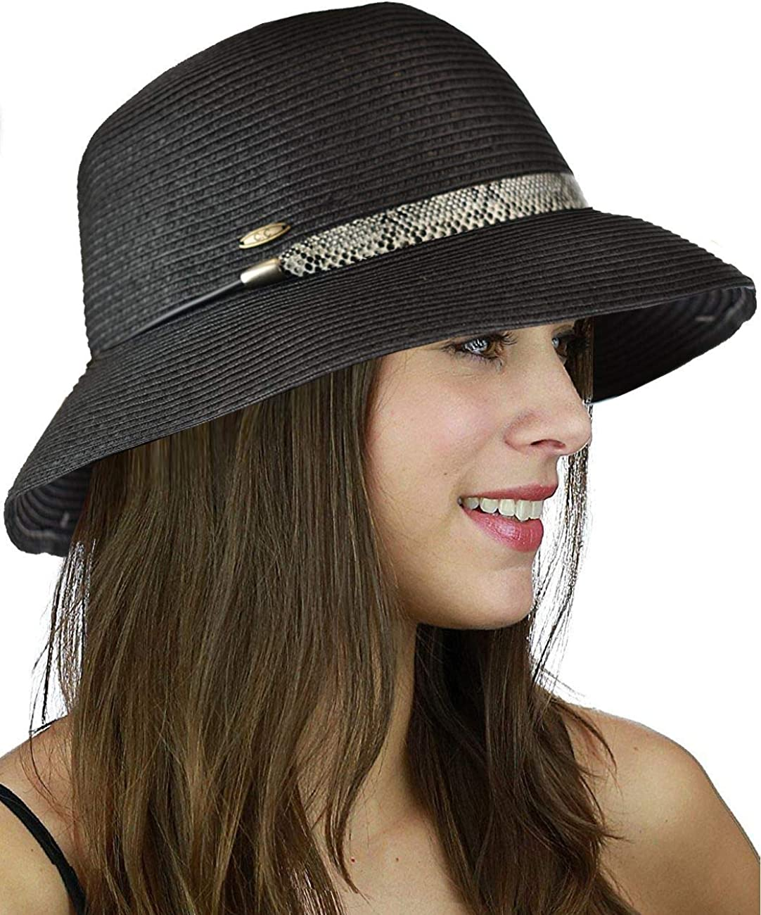 Credence C.C Women's Paper Woven Cloche Japan Maker New Bucket Color Hat Bow Band with