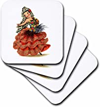 3dRose CST_204938_3 Print of Cute Spanish Retro Doll Ceramic Tile Coasters (Set of 4)
