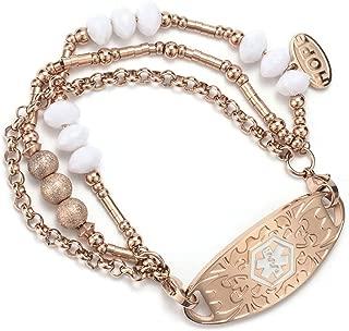 BAIYI Medical Alert ID Bracelet Rose Gold Filled Beads Cuff Wrap Bangle for Women Free Engraving
