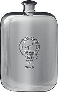 Swan Family Crest Design Pocket Hip Flask 6oz Rounded Polished Pewter