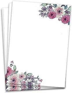 Papier listowy (60 arkuszy, DINA4), papier designerski, akwarelowe kwiaty w stylu vintage