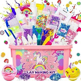 Dookey Kit De Slime Bricolage,Licorne Fabrication De Slime, Fluffy 45+ Pièces Kit Slime avec Outils pour Poudre Lumineuse,...