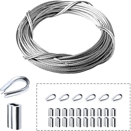 Muzata Cable Railing Kit Set,Picture Hanging Kit,T316 1//16 Stainless Steel Cable 33Ft with 50PCS Aluminum Crimping Sleeves and 10PCS Stainless Steel Thimble