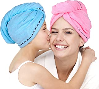 Microfiber Hair Towel Wrap 2 Pack -Hair Turban Head Wrap with Button, Quick Dry -Super Absorbent for Long & Curly Hair, Anti-Frizz -Bath Artifact for Women Girls Mom Daughter