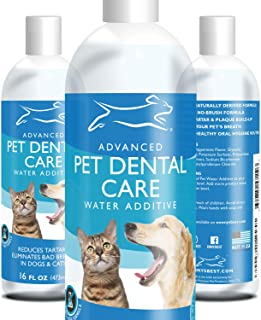 Emmy's Best Premium Dog and Cat Breath Freshener Advanced Pet Water Additive Treatment for No Brushing Removal of Plaque, Tartar and Improvement of Bad Breath