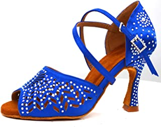 Dames Dansschoenen Blauw Satijn Diamond Stijl Rhinestones Ballroom Dans Schoenen Dames Latijns Salsa Hoge Hakken Schoenen