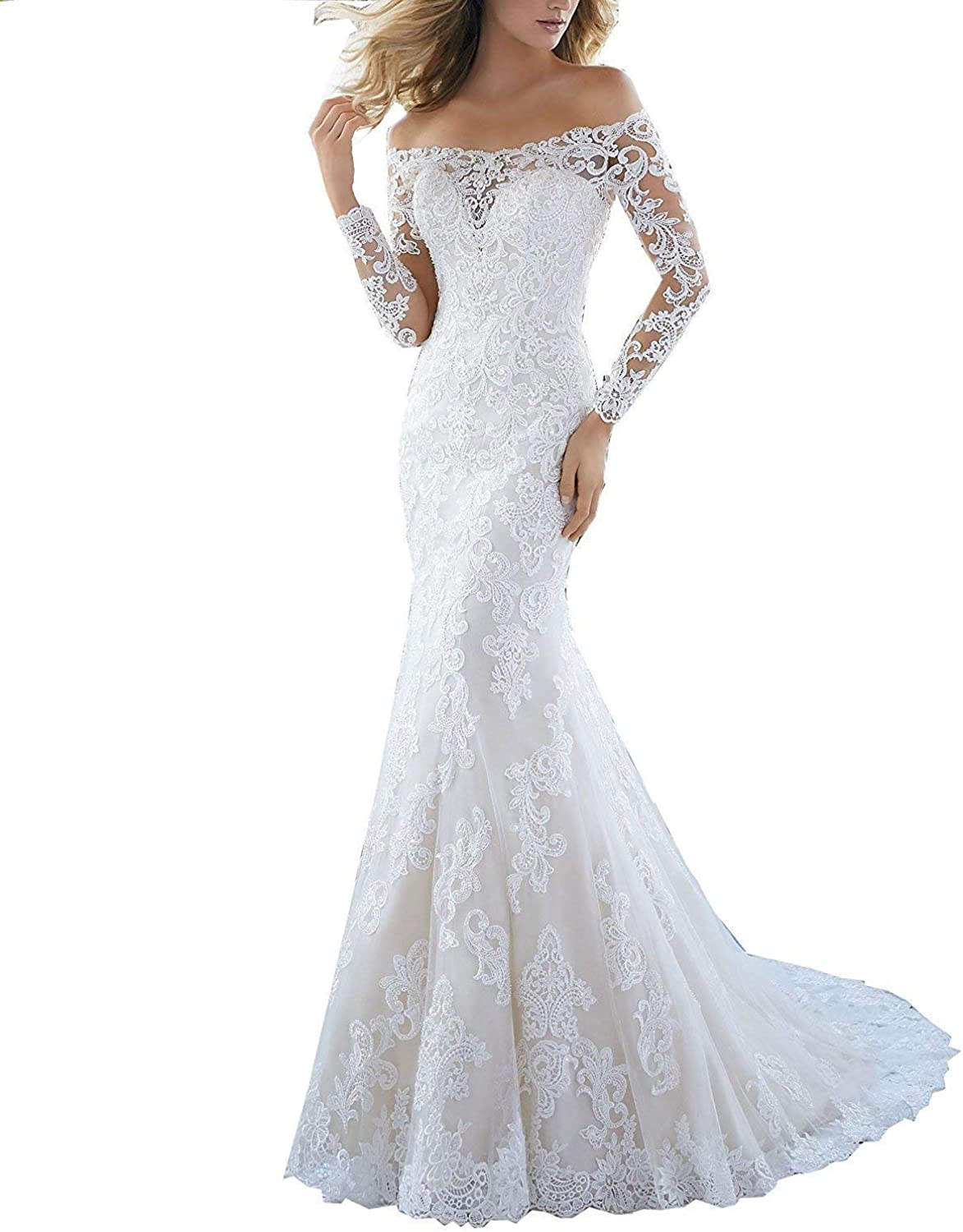 Fitty Lell Women Mermaid Lace Wedding Dress Long Sleeves Formal Evening Gown