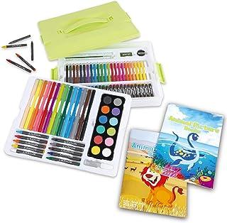 92 Pieces Kids Art Paint Set + 2 Coloring Books. Washable Carry Box. Watercolor, Pastels, Crayons, Pencils. Kid, Toddler, ...