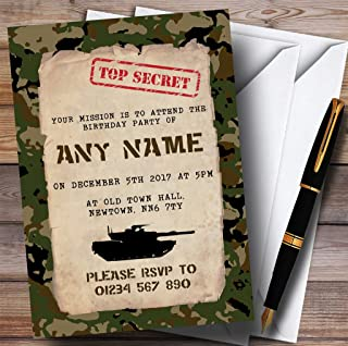 Top Secret Army Soldier Camouflage Childrens Birthday Party Invitations