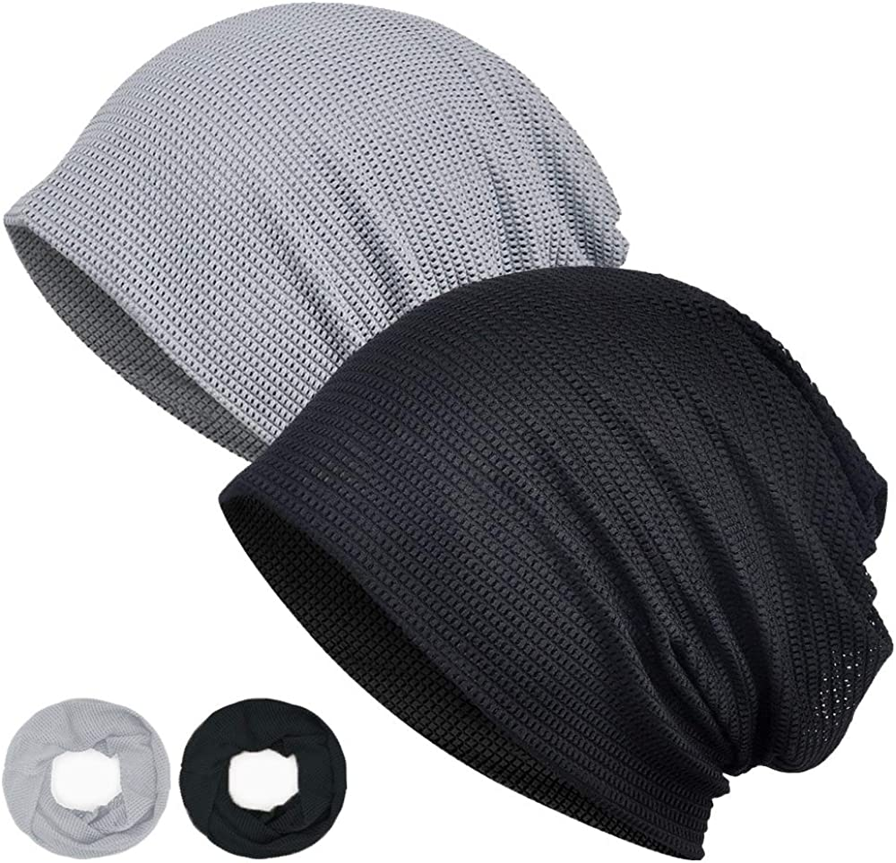 DRIONO Beanie Hat – 2 Pack Unisex Spiral Top Knitted Slouchy Skull Cap, Ponytail Friendly, Multifunctional Scarf
