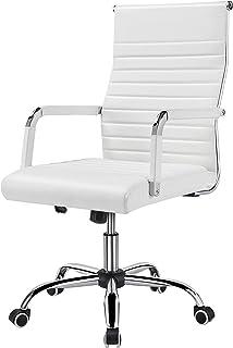 Yaheetech Chaise de Bureau Pivotante Hauteur Réglable Fauteuil de Bureau Ergonomique Inclinable en Simili Cuir Blanche