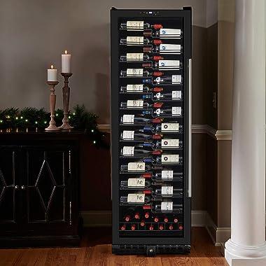 Wine Enthusiast VinoView 155-Bottle Wine Cellar – Freestanding or Built-In Wine Refrigerator (Left Hinge)
