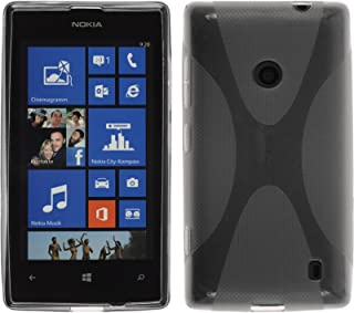 PhoneNatic Silicone Case Compatible with Nokia Lumia 520 - X-Style Gray Cover + Protective foils