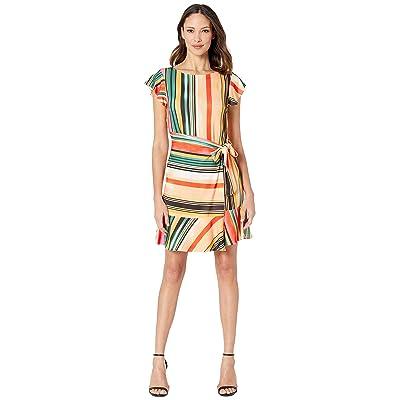 eci Flutter Sleeve Striped Faux Wrap Dress (Beige/Red) Women