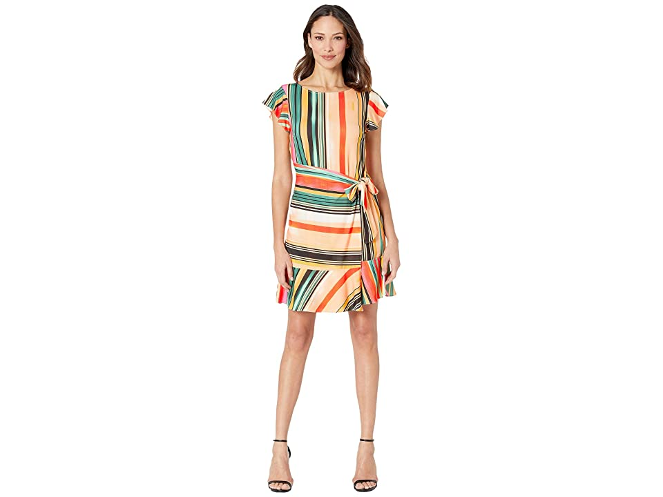 eci Flutter Sleeve Striped Faux Wrap Dress (Beige/Red) Women