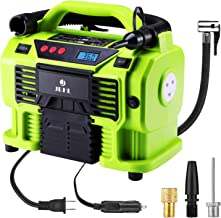 Air Compressor Tire Inflator 12V DC Portable Auto Tire Pump with Digital Display Shut Off Feature Durable and Reliable Tire Air Pump for Car Bicycle Balls Swimming Rings Toy (DC and AC Version, Green)