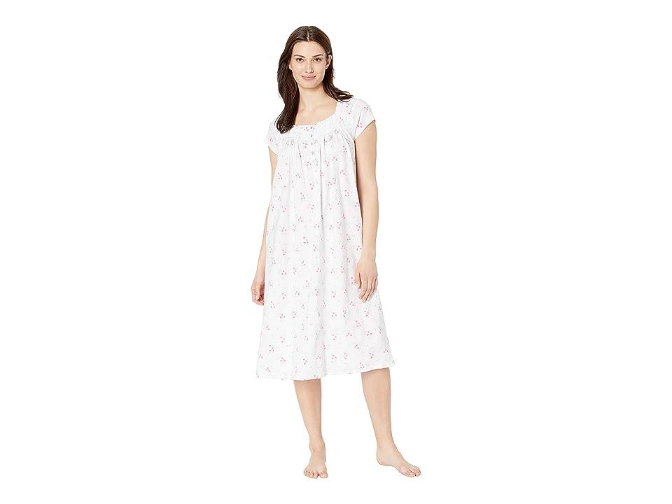 Eileen West Cotton Jersey Ballet Nightgown (White Ground Bouquet Toss) Women