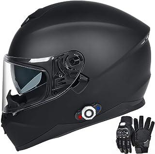 FreedConn Bluetooth Integrated Motorcycle Helmet, DOT Full Face BM12 Communication System Motorcycle Helmet with 500m FM Radio/ MP3, 2-3 Riders Pairing Intercom (Matte Black, XXL)