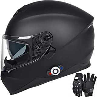 Bluetooth Integrated Motorcycle Helmet, FreedConn DOT Full Face BM12 Communication System Motorcycle Helmet with 500m FM radio/ MP3, 2-3 Riders Pairing Intercom (Matte Black, XL)
