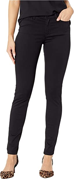 Abby Skinny Jeans in Stretch Peached Satin in Black