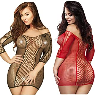 LOVELYBOBO 2 Pack Plus Size Women's Seamless Fishnet Chemise Sexy Lingerie Mesh Hole Full Length Sleeves Babydoll