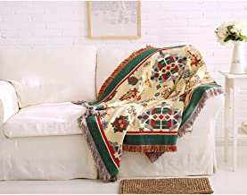 """Spring Fever 100% Colorful Cotton Fringe Decorative Home Throw Blanket for Couch/Sofa/Travel Use 35.0"""" x 70.0"""" Multi SUADJYA0041SF"""
