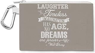 Laughter is Timeless Walt Disney Quote Canvas Zip Pouch - Multi Purpose Pencil Case Bag